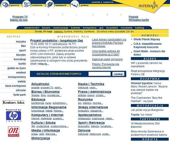 Interia w 2000 roku