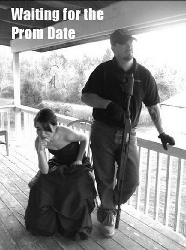 Tata ze strzelbą przed balem maturalnym córki