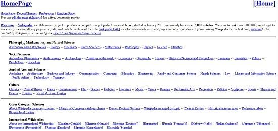 Wikipedia w 2001 roku