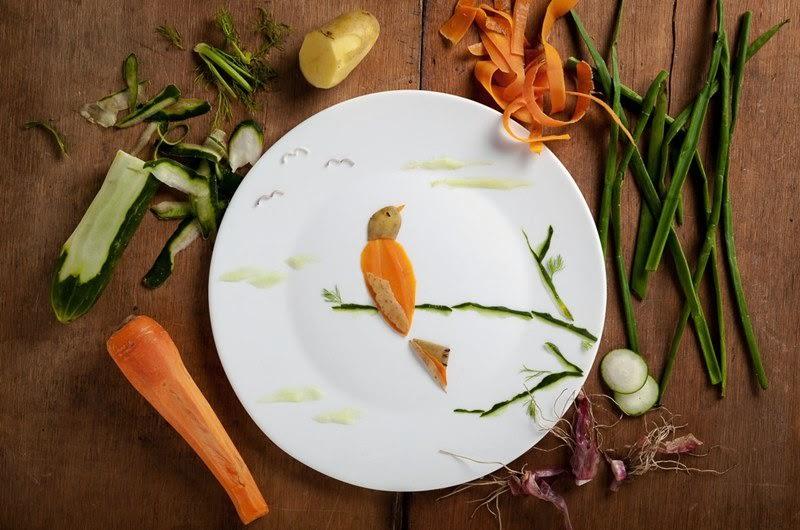 niesamowite ilustracje ptaków zrobione z jedzenia