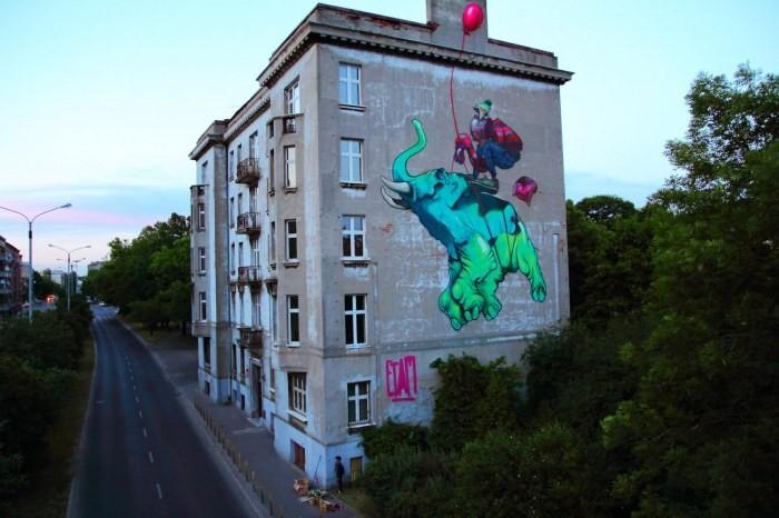 mural baloon łodź