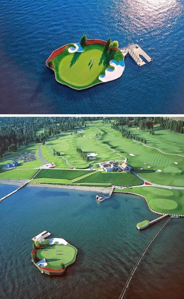 Pływające pole golfowe