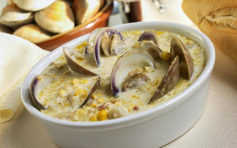 Zupa z małży amerykańskie jedzenie