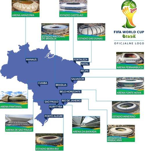 Mapa stadionów Brazylia 2014