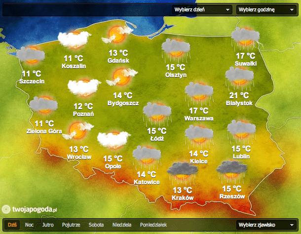 prognoza pogody 13-04-2015