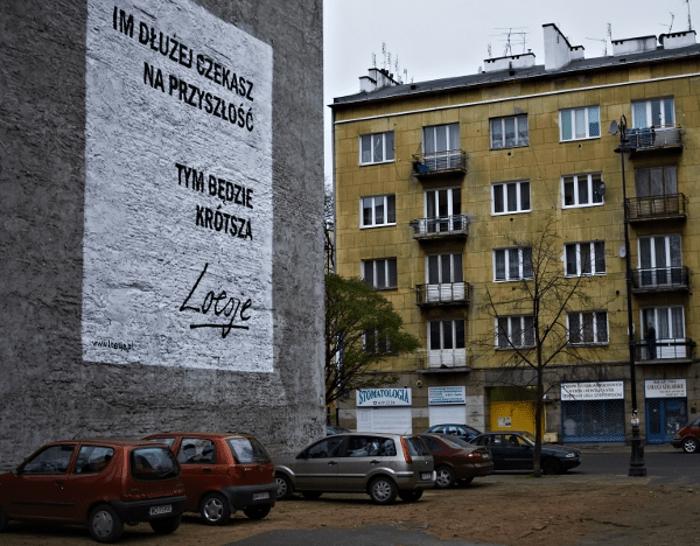Loesje mural, mural ulica Stalowa w Warszawie