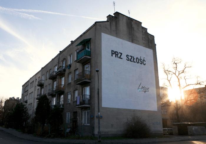 loesje Warszawa, mural prz szłość