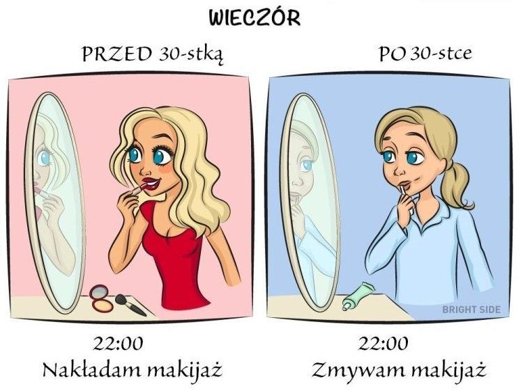 Życie przed 30-stką i po 30-stce na ilustracjach