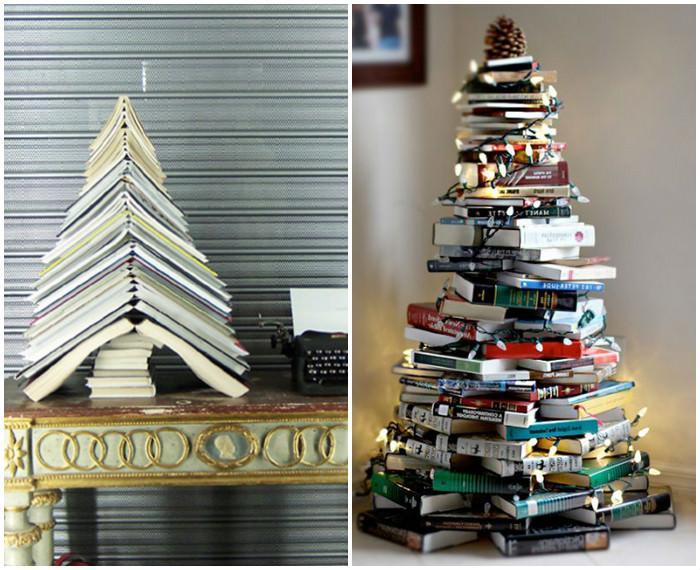 alternatywa dla tradycyjnej choinki - choinka z książek