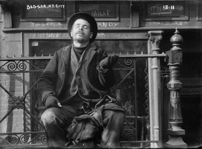 Uliczny żebrak, Nowy Jork lata 1900-1920