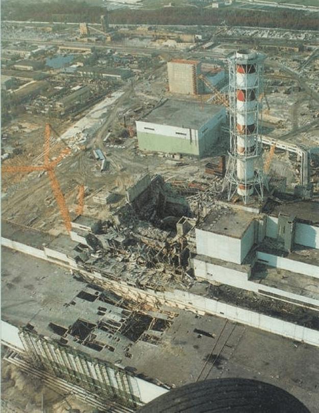 Uszkodzona elektrownia w Czarnobylu