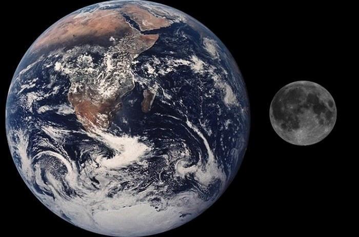 Wielkość Księżyca w stosunku do Ziemii