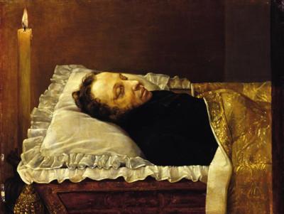 Aleksander Puszkin ma łożu śmierci