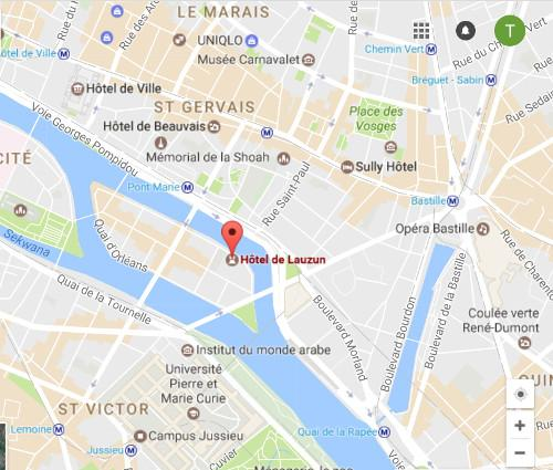 Hôtel de Lauzun Paryż mapa