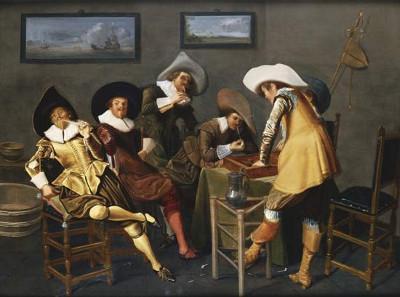 Obraz Dżentelmeni palący i grający w tryktraka w pokoju holenderskiego malarza Dircka Halsa, 1627
