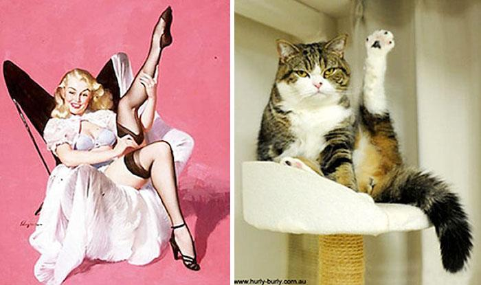 funny-cats-vintage-pin-up-girls-3