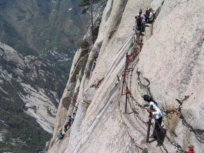 Chiny - Hua Shan góra turyści.