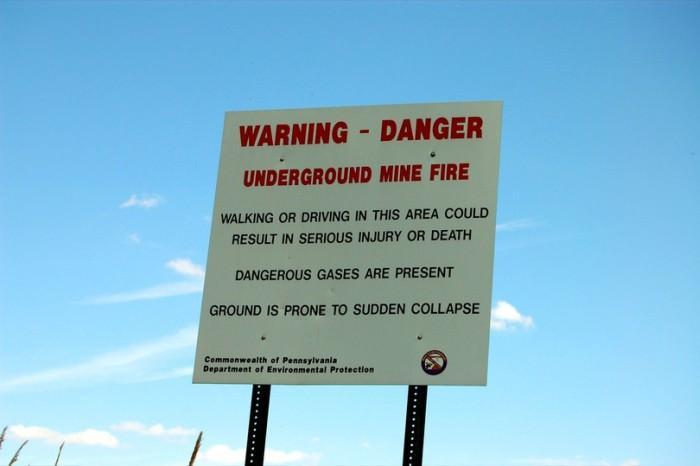 Centralia - tablice ostrzegawcze