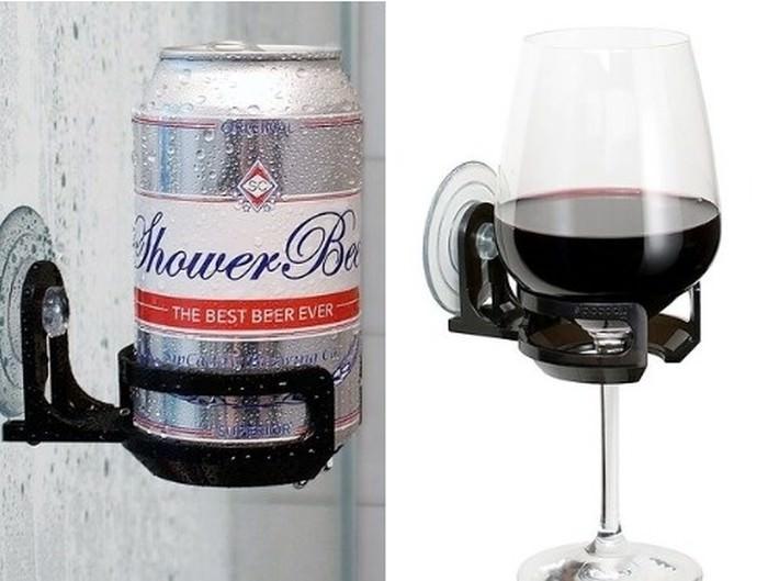 Uchwyt do piwa lub wina pod prysznic