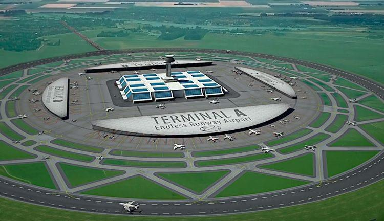 Lotnisko przyszłości z okrągłym pasem startowym