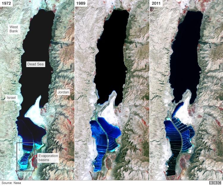 """Zdjęcia satelitarne pokazujące jak """"kurczy"""" się Morze Martwe"""