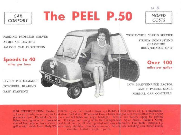Plakat reklamujący samochód Peel P50