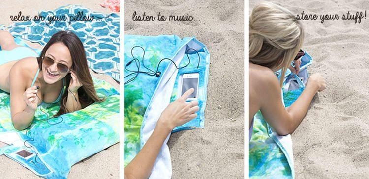 Tillow - połączenie ręcznika plażowego z poduszką