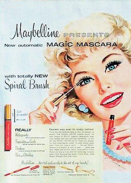 Reklama tuszu do rzęs z 1959 roku