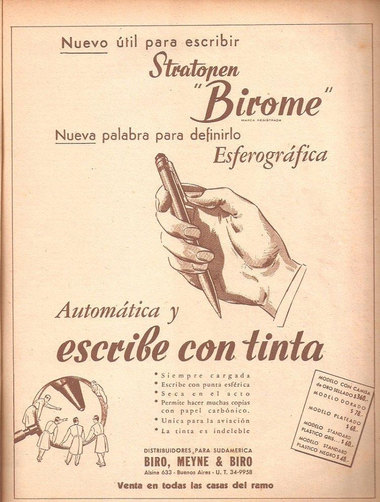 """Reklama długopisu (nazywanego birome) w gazecie argentyńskiej """"Leoplán"""", 1945"""