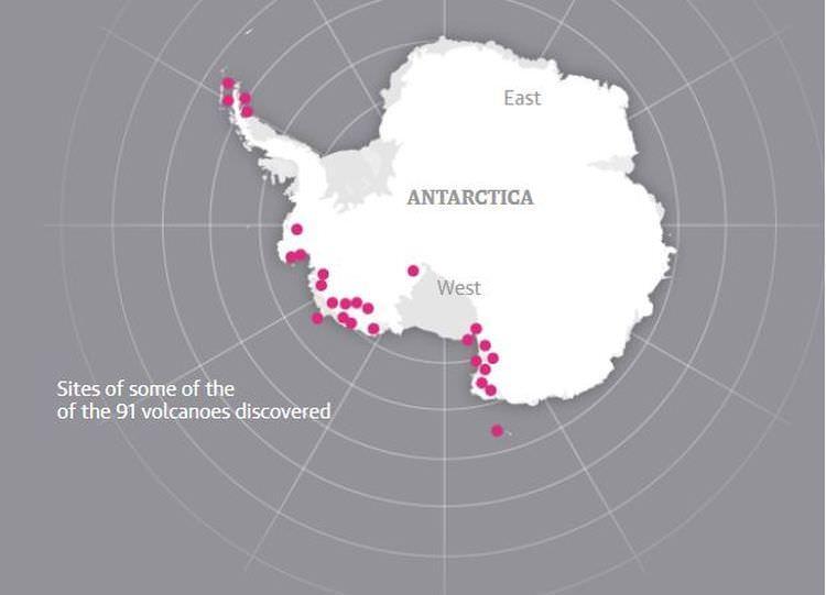 nowe wulkany na Antarktydzie
