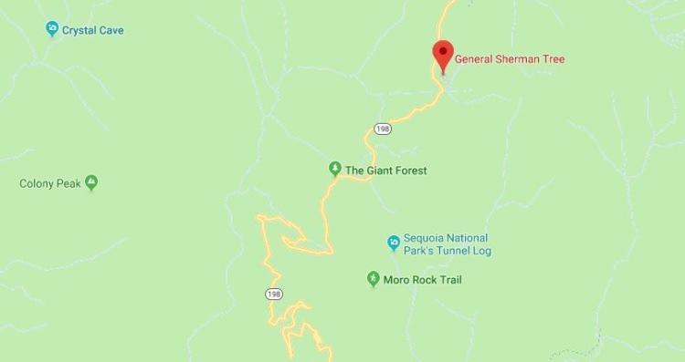 Park Narodowy Sekwoi mapa