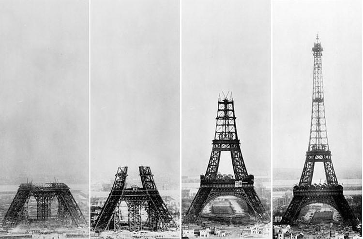 jak powstawała wieża Eiffla w Paryżu