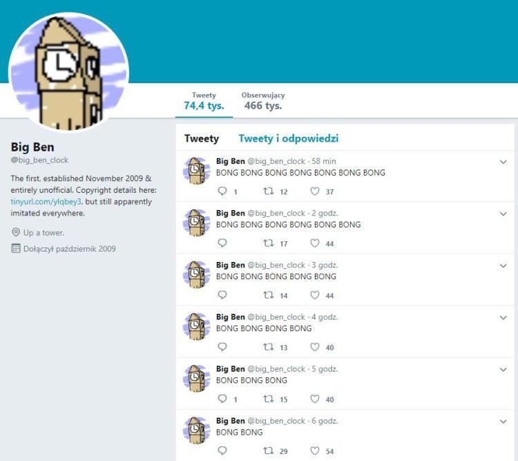 Big Ben ma konto na twitterze