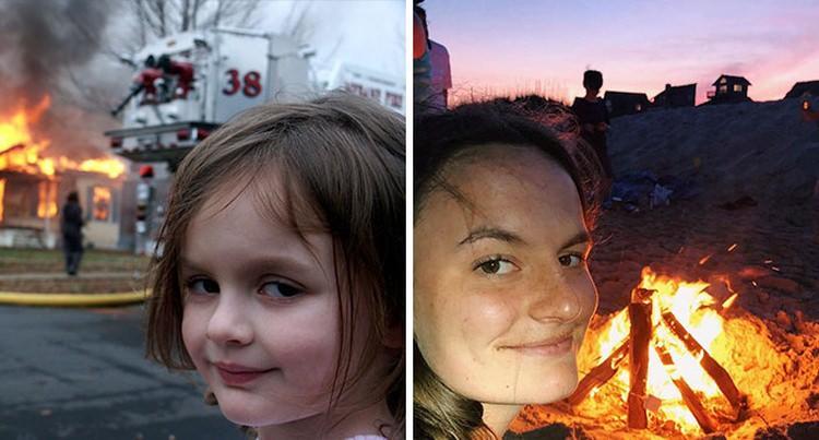bohaterowie memów kiedyś i dziś - disaster girl