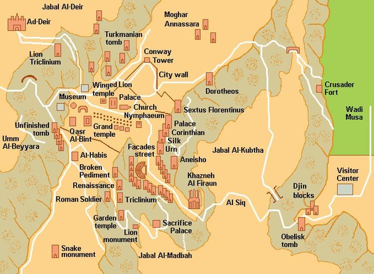 Skalne miasto Petra w Jordanii - mapa