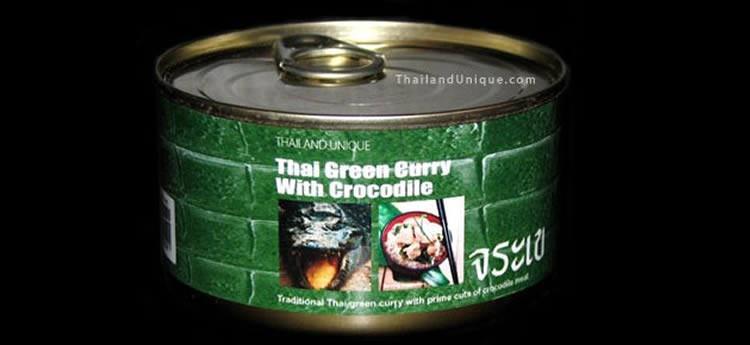 zielone curry z mięsem krokodyla