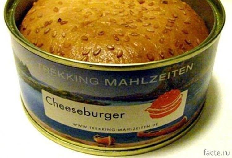 dziwne jedzenie z puszki - cheeseburger