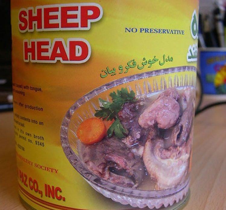 Konserwa z głowy owcy