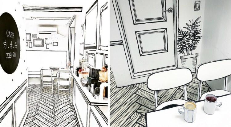 kreskówkowa kawiarnia w Seulu