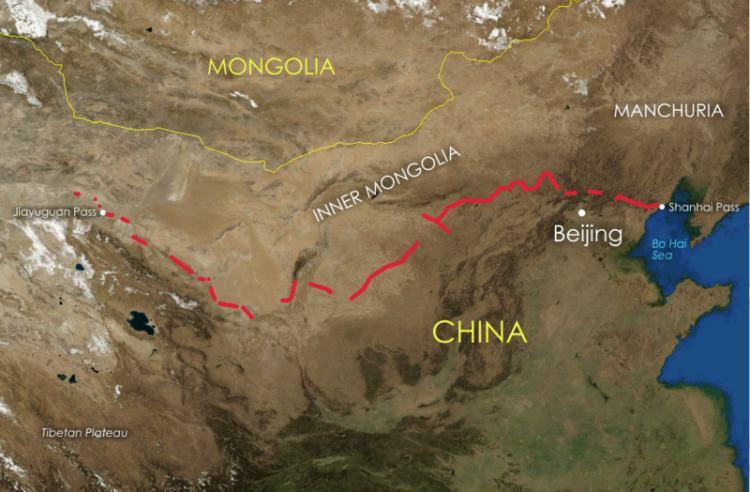 Wielki Mur Chiński mapa