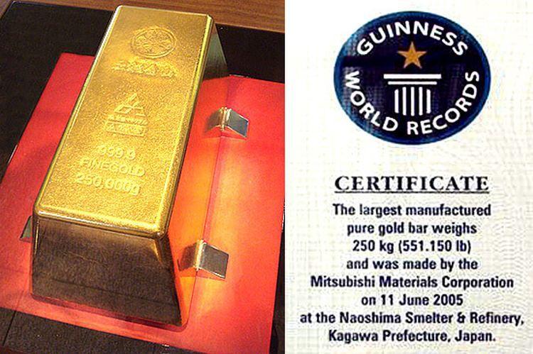 największa sztabka złota na świecie