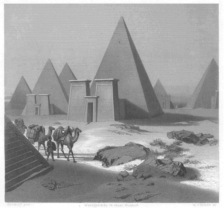 Piramidy w Neroe w okolicach 1850 roku