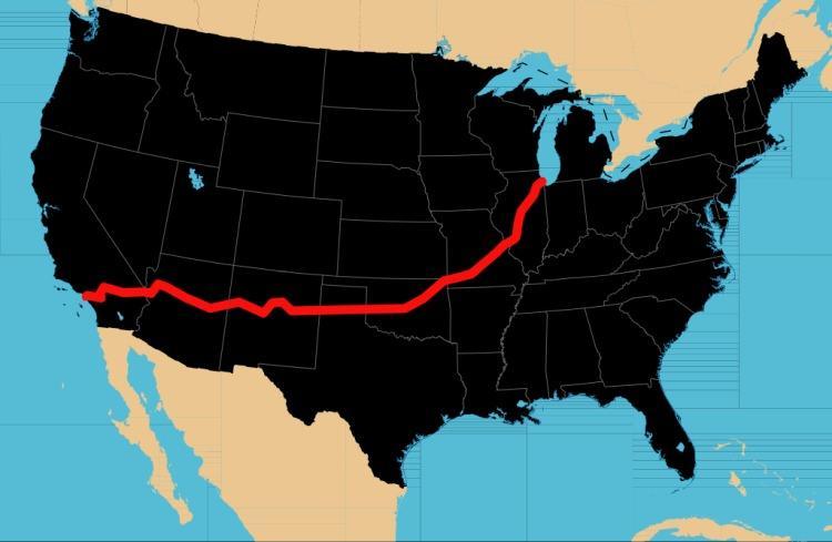 Route 66 mapa