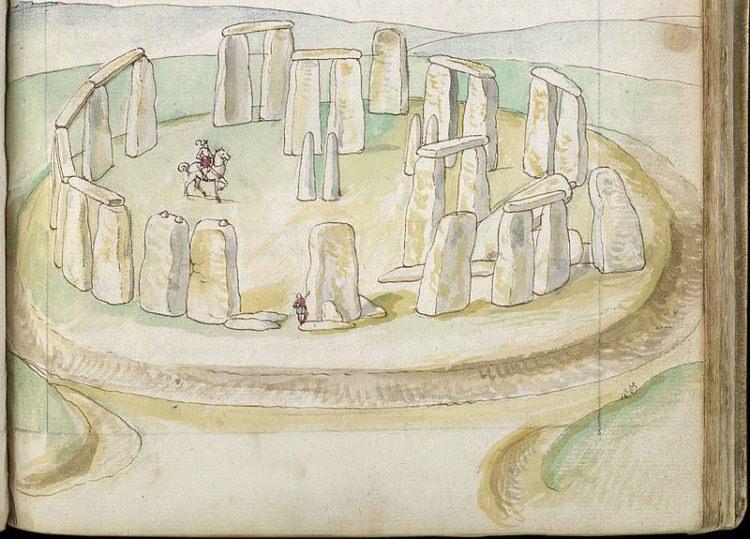 Obraz przedstawiający Stonehenge z drugiej połowy XVI wieku