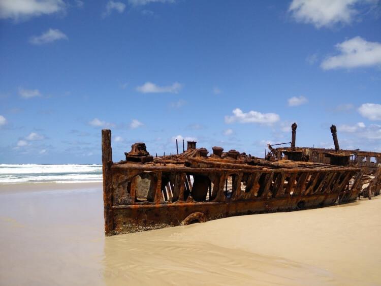 Wrak statku S.S. Maheno na Fraser Island