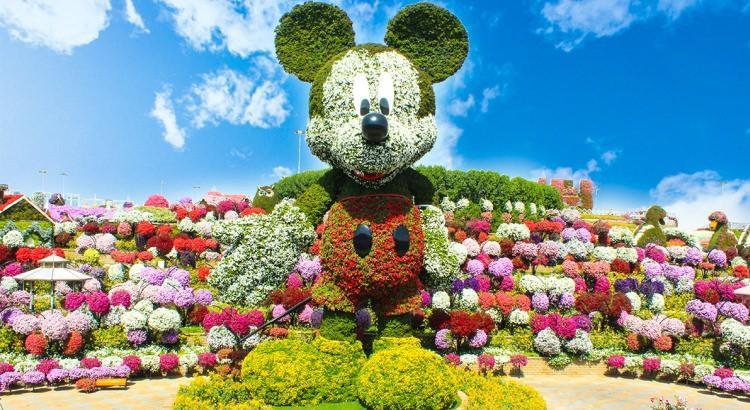 Myszka Miki z kwiatów w ogrodzie cudów w Dubaju
