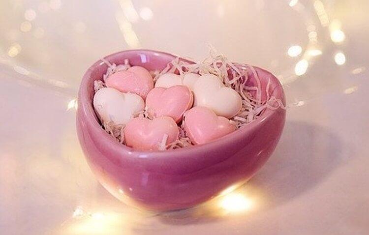 ręcznie robione mydełka w kształcie serca