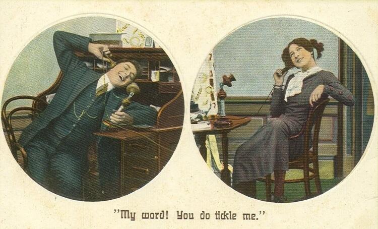 rozmowa telefoniczna na początku XX wieku