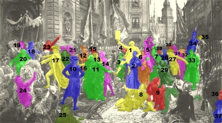 """Lista postaci historycznych, które znalazły się na obrazie Matejki """"Konstytucja 3 maja"""""""