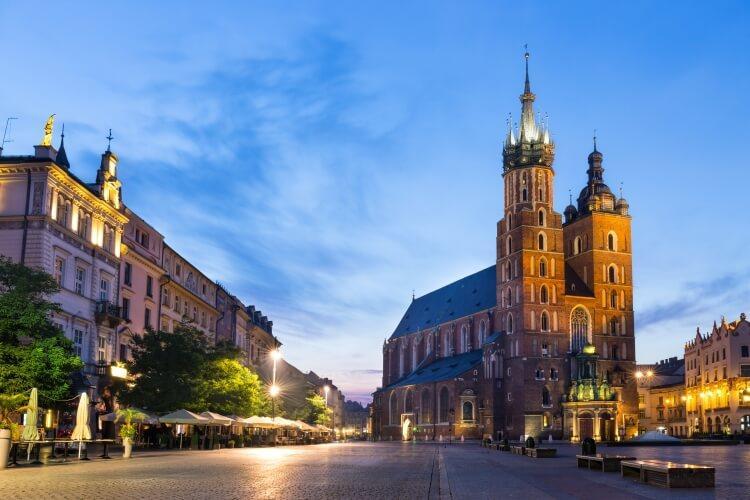 Kraków, Kościół Mariacki w nocy